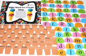 ice cream cone sight word game
