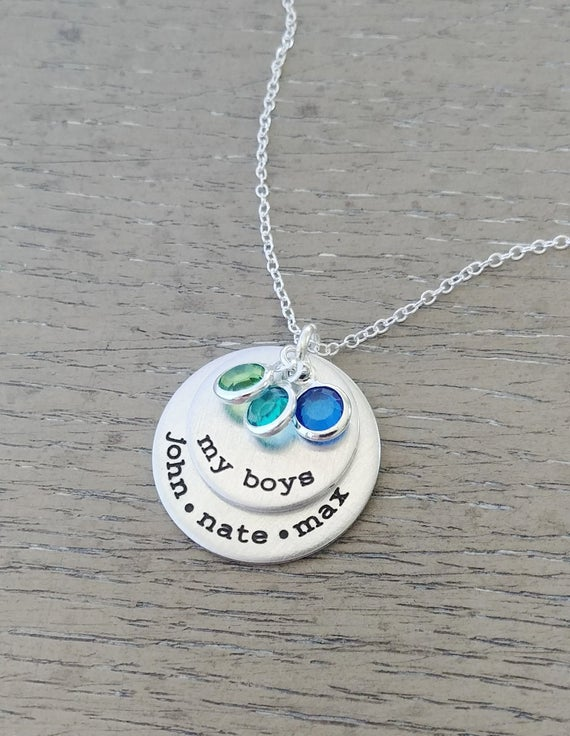 Custom Hand Stamped My Boys Necklace