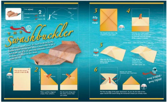 Instruction view of Klutz Book of Paper Airplanes. It includes excellent visual instructions, great plane designs and even neat paper to make your planes with. See our list of the best paper airplane books for more information and other titles.
