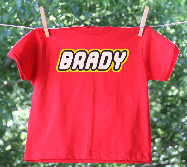 Tshirt with Name in LEGO Font