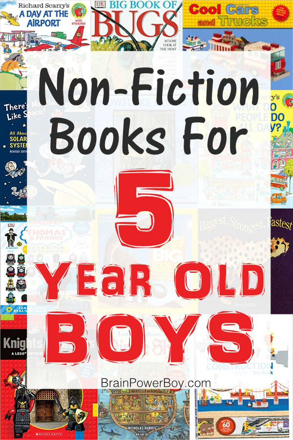 Boys love non-fiction and these are the best non-fiction books you can get for a 5 year old boy. They are sooo good! Tap or click to see them all.