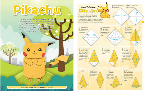 Pikachu origami figure with step-by-step directions.