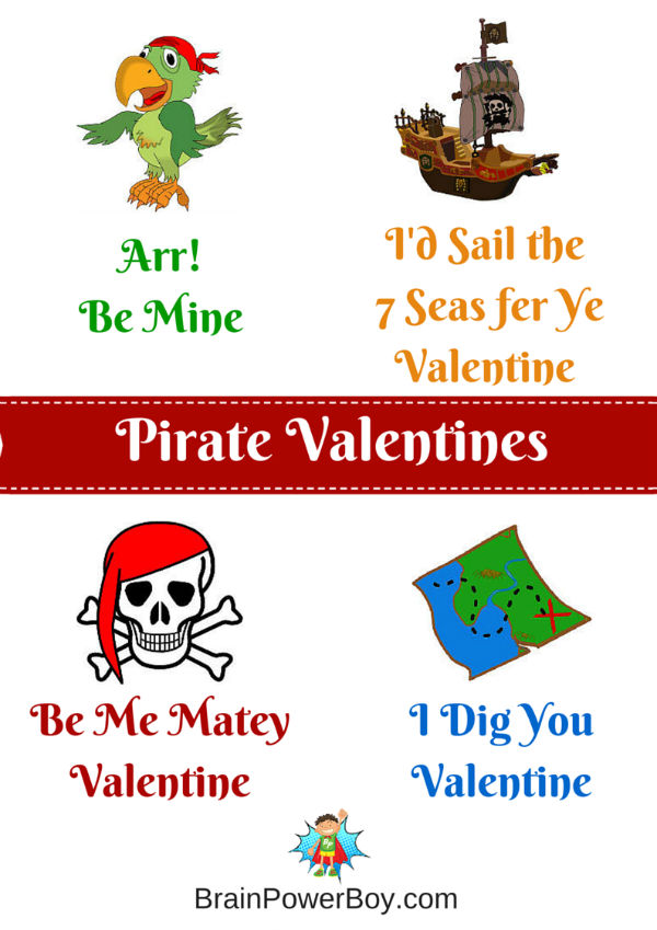 Free printable Pirate Valentines!