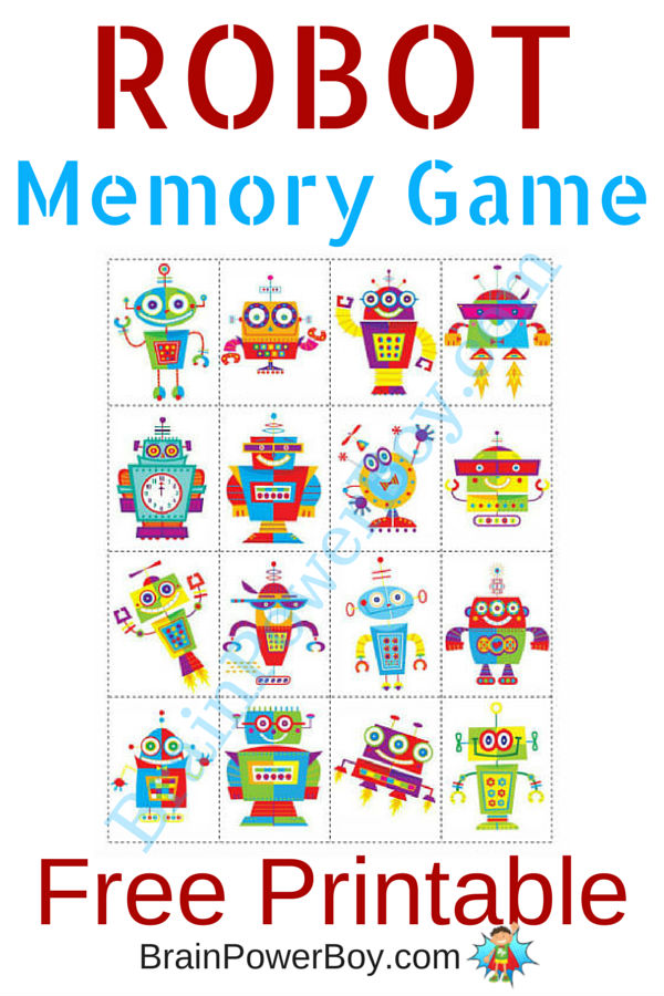 graphic relating to Printable Memory Games identify Printable Video games for Youngsters: Robotic Memory Video game