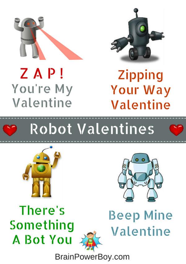 Beep, bloop, beep. Free Printable Robot Valentines!